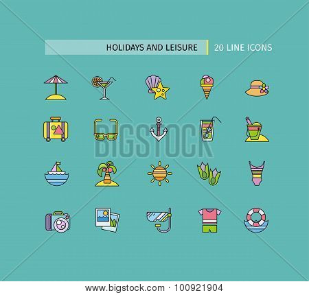 Set of Thin Lines Icons Holidays and Leisure