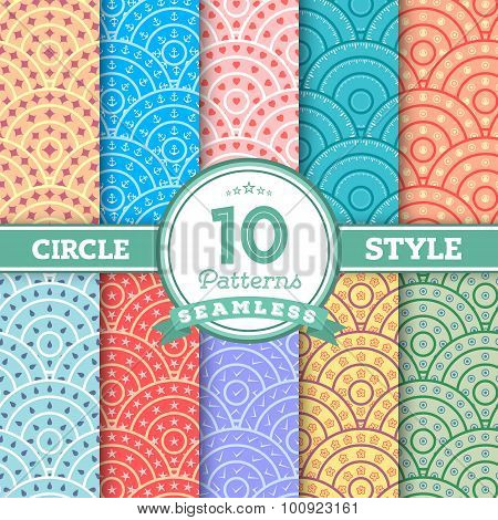 Set of 10 Different Circle Style Seamless Patterns for your Desi