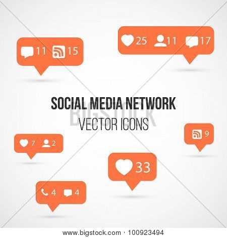 Set of Social Media Network Vector Icons. Include Like, Follow,