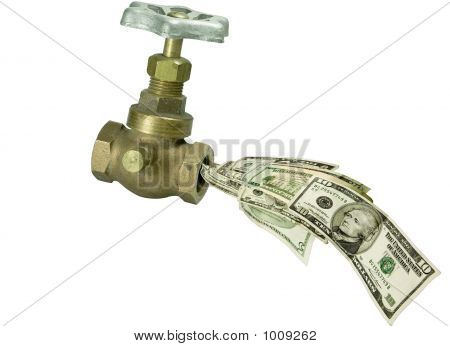 Picture or Photo of Faucet valve with american money coming out