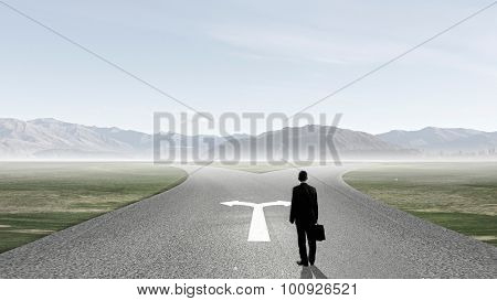 Back view of businessman standing on crossroads and making choice