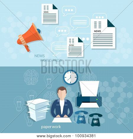 Office Worker Businessman Paperwork analytics statistics vector banners