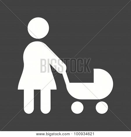 Walking with baby in stroller Icon