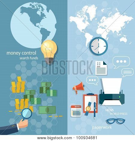 Business World Concept Money Transfer Transactions Finance Online Payment Working Office Stationery