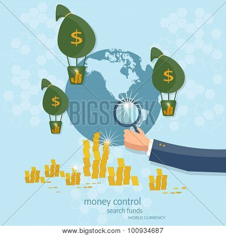 Business Concept Global Control Monetary System Transactions Online Payments Transfer Banking