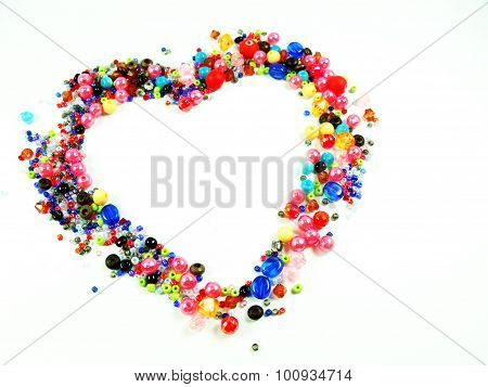 Colorful Beads Heart Shape Space For Photo Or Text Isolated On White Background
