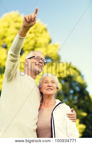 family, age, tourism, travel and people concept - senior couple hugging and pointing finger in park