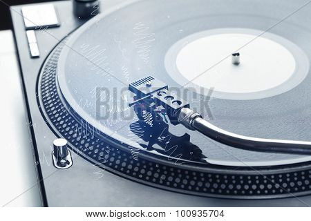 Turntable playing music with hand drawn cross lines concept on background