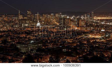 San Francisco Skyline And Bay Bridge At Night
