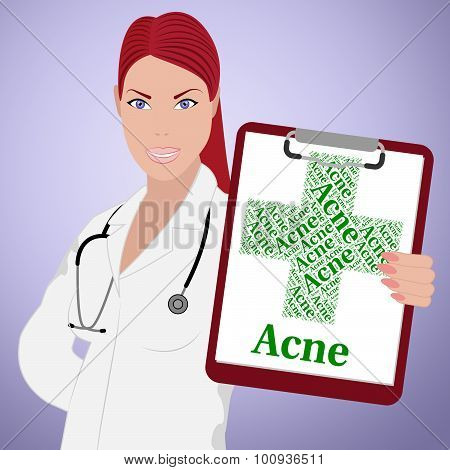 Acne Word Indicates Ill Health And Affliction