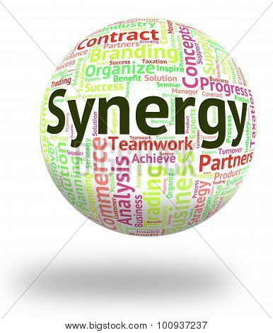 Synergy Word Indicates Work Together And Collaboration