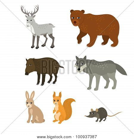 Cartoon set: northern deer bear boar wolf rabbit squirrel mouse