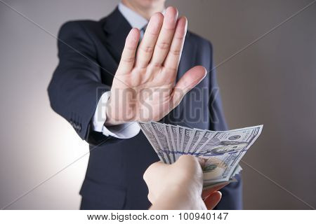Businessman With Money In Studio. Corruption Concept. Hundred Dollar Bills