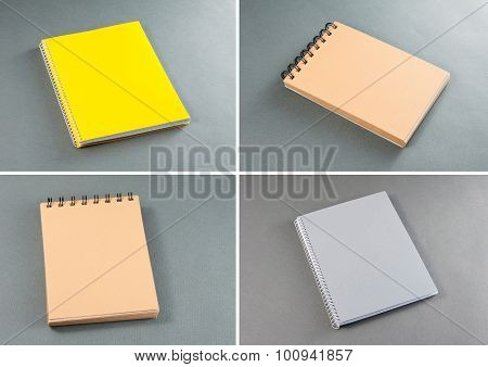 Collection Of Notebooks On A Gray Background.