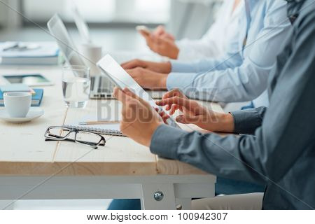 Business Team Working At Office Desk