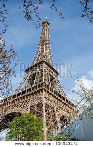 Closeup View Of Eiffel Tower In Paris, France