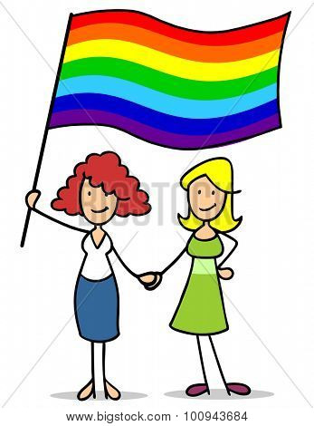 Lesbian female couple holding hands and a big rainbow flag