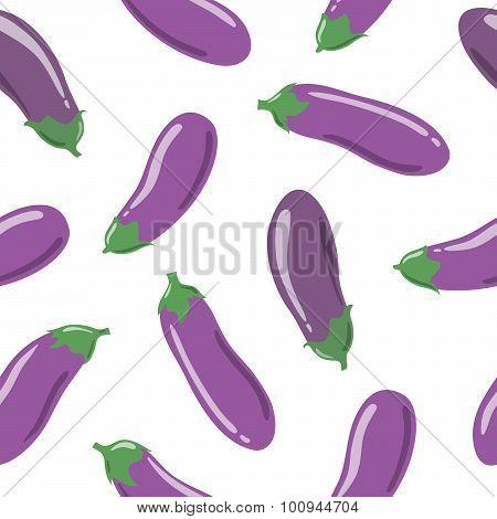 Eggplants seamless pattern