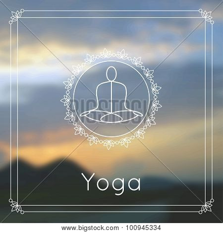 Yoga poster with blurred photo background.