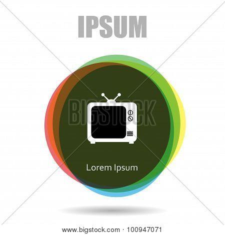 Pictogram icon circle Multicolor background. Flat design tv