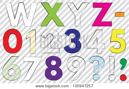 Font. Alphabet. #2. Letters W-z. + Dash, Hyphen (-) + Numbers 0-9 + Question Mark (?) + Exclamation