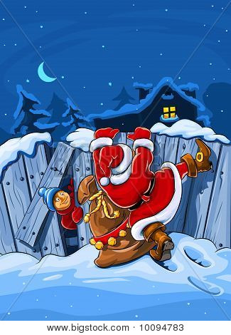 santa claus with sack climbs over big fence