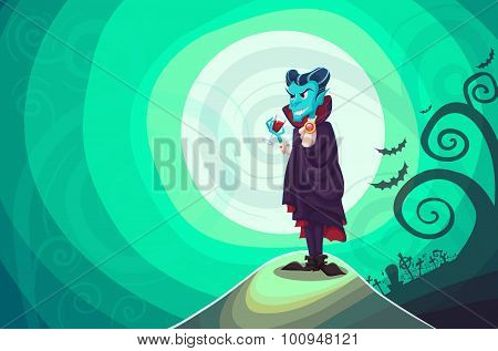 Vampire Dracula For Halloween. Vector Poster Background Illustra