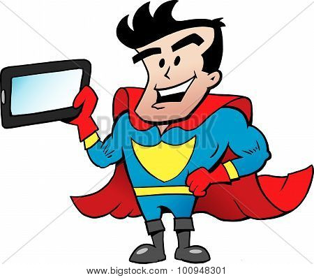 Vector Cartoon Illustration Of An Super Hero With A Tablet