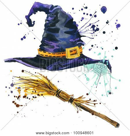 Halloween witch hat and broom witch. Watercolor illustration