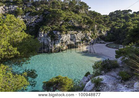 Beach Of Cala Macarelleta, Menorca, Balearic Islands, Spain.
