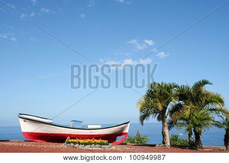 Colorful Fishing Boats On Beach In  Tenerife Island, Spain