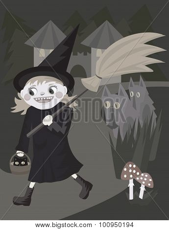 cartoon funny young witch walking with broomstick