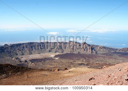 Lava And Peak Of Teide Volcano. Tenerife, Canary Islands, Spain