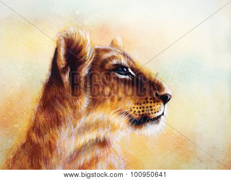 Little lion cub head. animal painting on vintage paper, abstract color background with spots