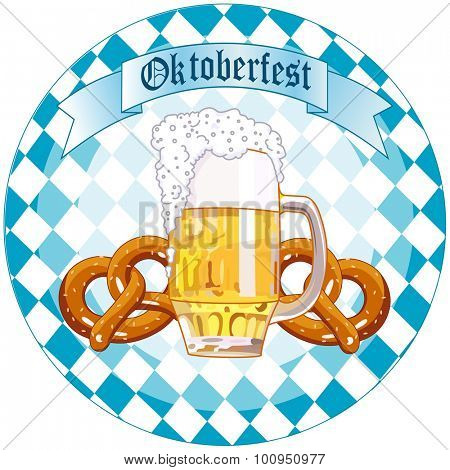Round Oktoberfest Celebration design with beer and pretzel