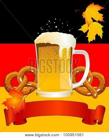 Oktoberfest Celebration design with beer and pretzel on German flag background