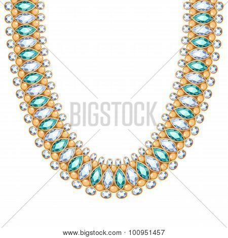 Gemstones chain golden necklace or bracelet.