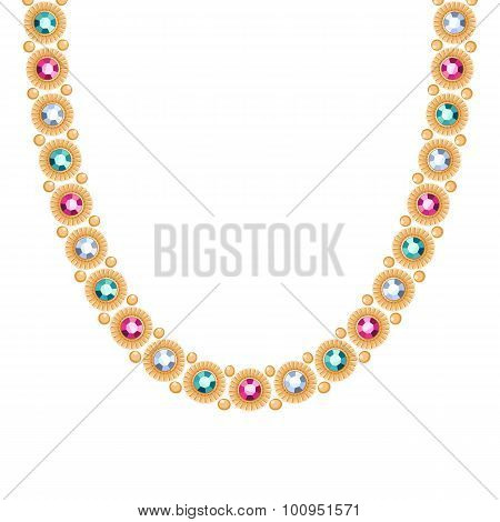 Golden chain with colorful gemstones necklace or bracelet.