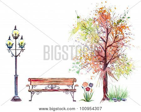 Autumn background with tree and lantern