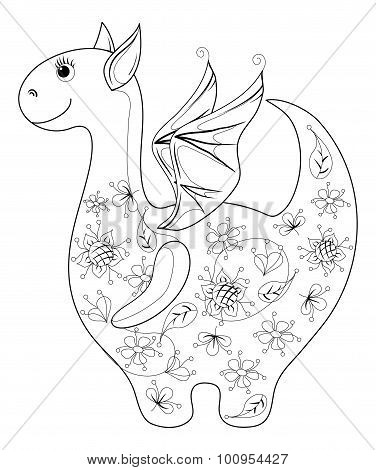 Dragon symbol of East New Years, contours