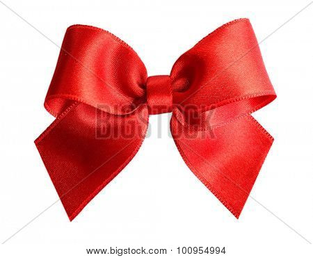 Red satin bow isolated on white