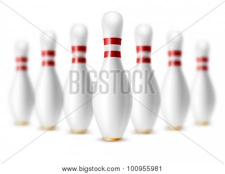 Glossy white bowling skittles standing in row. Vector illustration on sport bowling theme. Isolated on white background.