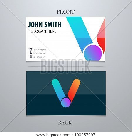 Vector Creative Business Card Template, Letter V. Trendy Business Elements.