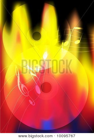Burning Music Background