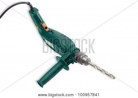 Electric Drill With Twist Drill Bit For Metalworking Closeup