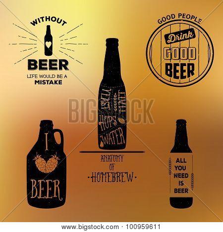 Vintage beer emblems, labels and design elements. Typography illustrations.