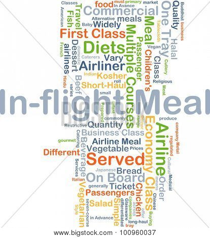 Background concept wordcloud illustration of in-flight meal