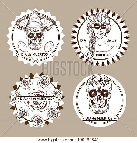 Sketch Mexican Dia De Los Muertos Set Of Stickers