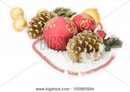 Christmas Gold Ball, Beads Fir Cone On Snow Background
