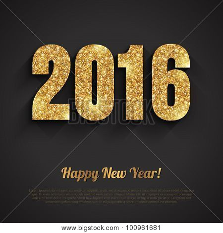 Happy New Year 2016 Golden Greeting Card with Sequins Pattern.